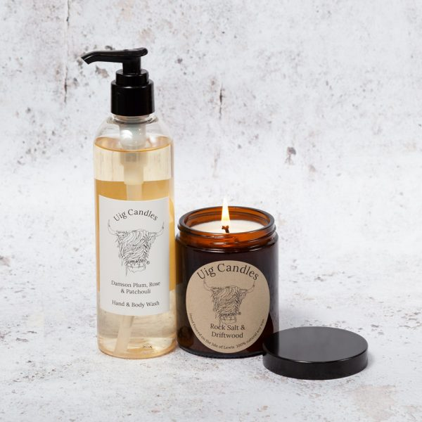 Uig Candles Amber Jar with Hand & Body Wash Gift Set