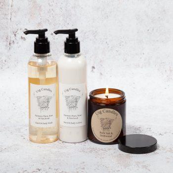 Uig Candles Amber Jar, Hand & Body Wash & Lotion Gift Set