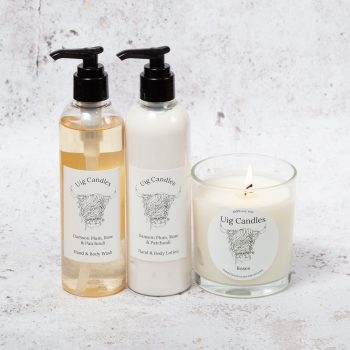 Uig Candles Candle with Hand & Body Wash & Lotion Gift Set