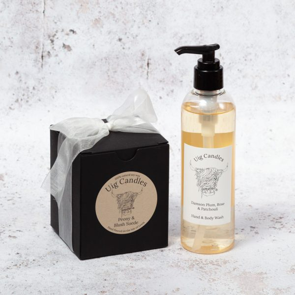 Uig Candles Candle with Hand & Body Wash Gift Set
